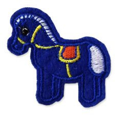 BLUE PONY MOTIF IRON ON EMBROIDERED PATCH APPLIQUE